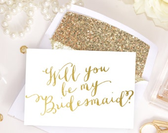 Card Set: Will you be my Bridesmaid, Maid of Honor card, bridal party proposals White & Gold Foil, invitation instant download DIY Printable