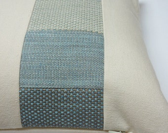Pair of cream and blue accent patchwork oblong cushions - no longer available