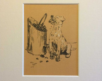 "Beautiful Cecil Aldin Vintage Original Dog Print, c100 years old - ""Coal snack!"" * Matted and mounted for easy framing"