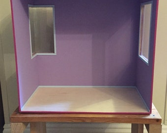 1:6 scale empty roombox with large side window and a medium corner window for blythe, momoko, barbie, monster high
