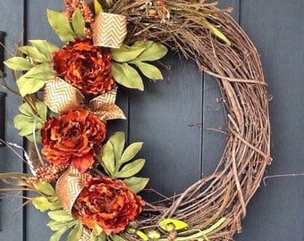 Fall Wreath, Autumn Wreath, Grapevine Wreath