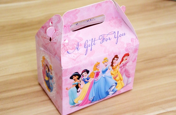 Personalized Party Favor Boxes Birthday : Disney princess birthday party favor boxes wikii