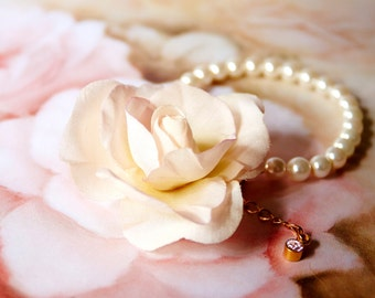 Handmade light pink silk flower with crystal pearl bracelet, bridal necklace, ready to ship