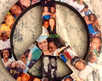 Personalized Photo Collage Peace Sign