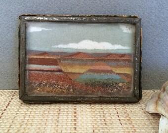 Southwestern decor | Vintage sand painting | Frank R. Speck | Native American art | miniature painting | sand art