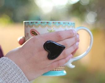 Heart ring Ceramic jewelry Ceramic ring Black ring Valentine's day gift