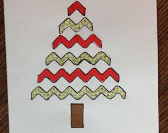 Holiday tree handmade card (holidays, Christmas, etc.)