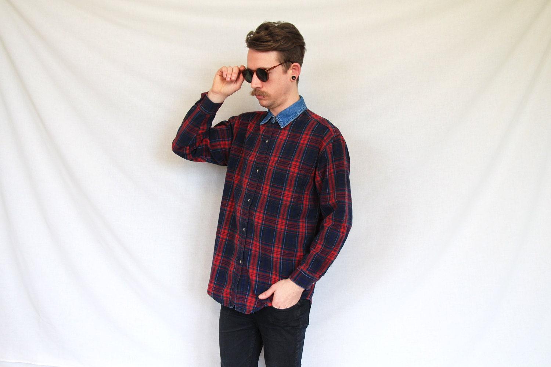 Vintage flannel shirt denim collar plaid shirt lumberjack for Flannel shirt and jeans