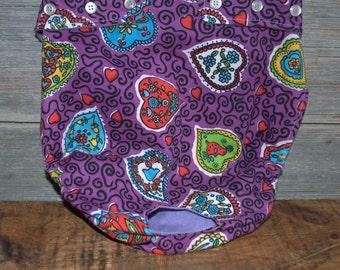Dog diaper. Dog in season diaper. Dog panty. Purple Retro Hearts. X- Large.