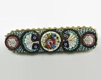 Vintage Italian Micromosaic Millefiori Floral Brooch Bar Pin
