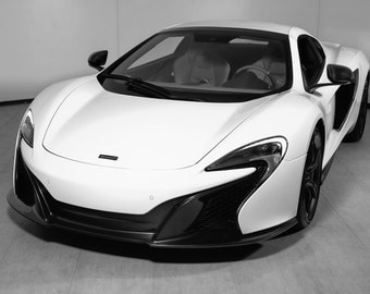 Poster of McLaren 650S Left Front B&W HD Print