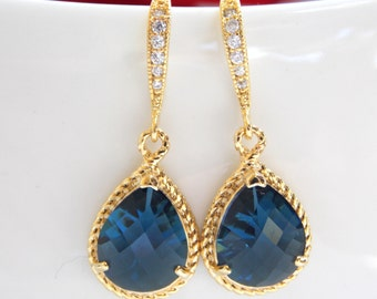 Wedding Jewelry, Navy Blue Earrings, Dark Blue, Blue, Gold, Montana Blue, Cubic Zirconia, Bridesmaid Jewelry, Bridesmaid Earrings, Dang