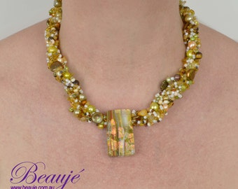 Brown/Gold Statement Necklace-Jewellery-Semi Precious-Gemstone-Necklace & Earrings-Handmade-Beauje-Designer-Jewelry-Dichroic