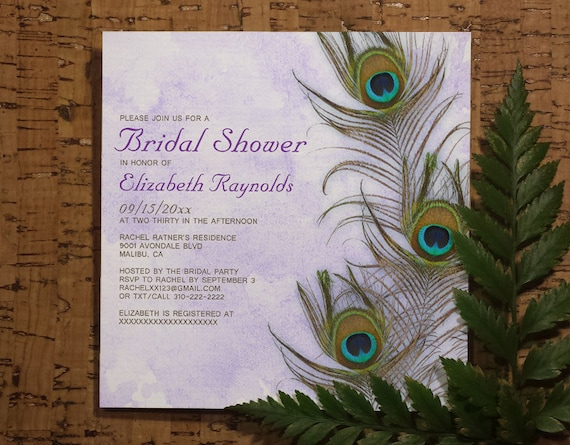 Peacock Wedding Invitations Template: Rustic Peacock Feather Bridal Shower Invitation By