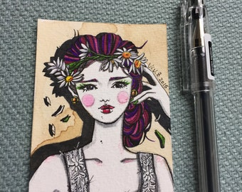 "ACEO, Original ACEO miniature, artist trading card, Pen and Ink, ""Vintage Girl"", hand drawn fashion illustration, One of a Kind"