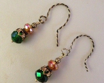 Earrings in antique brass with green and yellow  beads.  AB0129