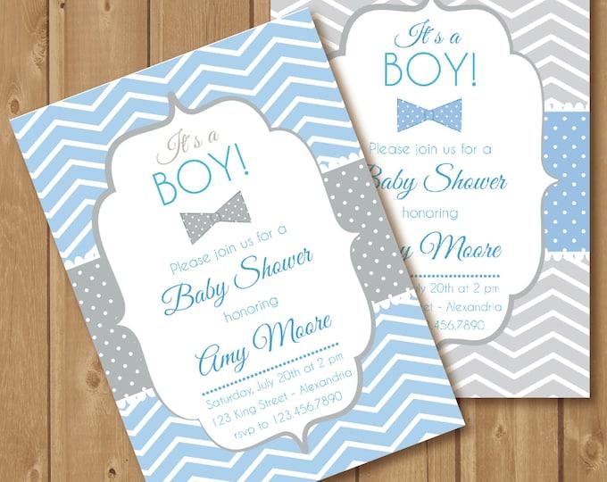 Baby Shower Invitation. Baby boy. Bowtie babyshower invite. Chevron style babyshower invitation. Printable
