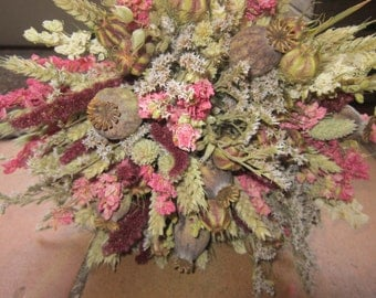 Red, Pink and Cream Bouquet.  Wedding Flowers for Bride of Bridesmaid, Dried flower bouquet with poppy seed heads, wheat, larkspur and twine