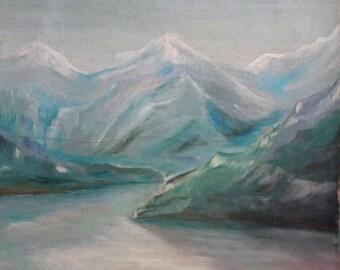 1917 European art antique landscape oil painting signed