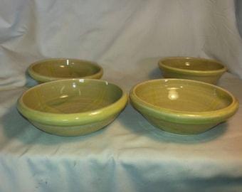 Green ceramic soup bowls