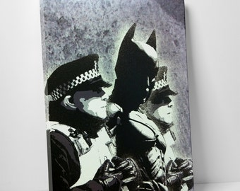 Batman and The Police by Banksy Gallery Wrapped Canvas Print. BONUS WALL DECAL!