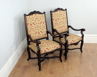 Antique Pair of Two French Walnut Fauteuil Upholstered Tapestry Carved Hall / Open / Library Armchairs / Chairs (Circa 1840)