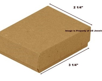 """100 Kraft Cotton Filled Jewelry Packaging Craft Gift 2 Piece Boxes 3 1/4"""" x 2"""" x 1"""""""