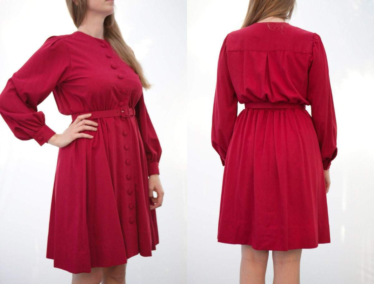 Medium Christmas dress red dress long sleeve holiday dress