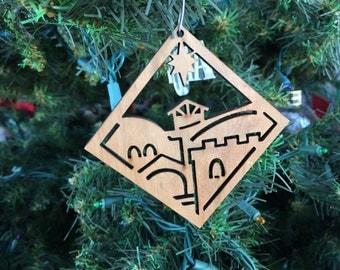 Cherry Wood Town of Bethlehem Ornament