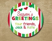 Personalized Christmas Stickers, Round Christmas Gift, Green and Red Stripe Holiday Labels, Season's Greetings Stickers, Holiday Gift Tags
