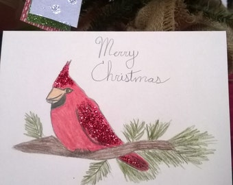 Christmas Card, handmade greeting card, Cardinal Merry Christmas Glitter Card Blank inside