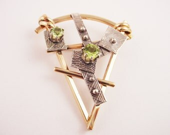 Small Triangle Pin Sculpural Design in Gold Filled Wire, Fused Sterling Silver and Peridots