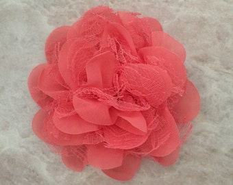 Chiffon and lace flower, coral flower, large flower, coral, flower, lace flower, flower puff, flower supplies, DIY supplies,
