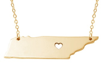 TN State Charm Necklace,Gold Tennessee State Necklace,State Shaped Necklace,Personalized Tennessee State Necklace With A Heart