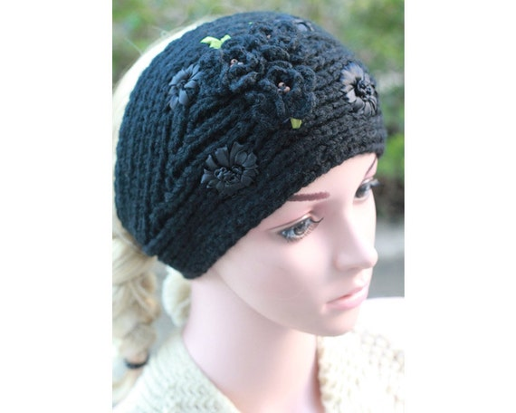 Hippie Headband Knitting Pattern : Black Knit Headband Flower Headband Boho Headband by SisiSocks