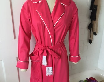 1960's Cherry Nylon Robe with Piping and Tassels Vintage/ Retro  - Size Large