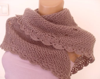 Bridal knitted wool scarf with lace, color cocoa triangular.