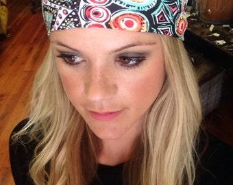 Aztec headband, tribal headband, colorful headband, aztec print headband, printed spandex headband