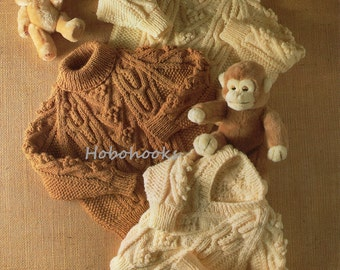 Baby / toddler/ childrens aran cable sweaters, round, v or polo neck -20 to 28 inch chest -aran yarn -Knitting Pattern -PDF instant download
