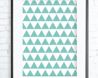 Turquoise Triangles Pattern, Modern Art Prints, Home Decor, Bedroom Art, Dining Room Art, Turquoise Wall Art