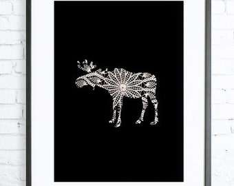 Moose Poster, Lace, Instant Download Printable, Print Art,  Modern Art Print, Moose art, moose print, black and white graphic art print