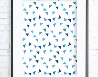 Blue Triangles Print Art, Blue Triangles printable art, Print Art, Triangles Decor, Blue Art Print, office artwork