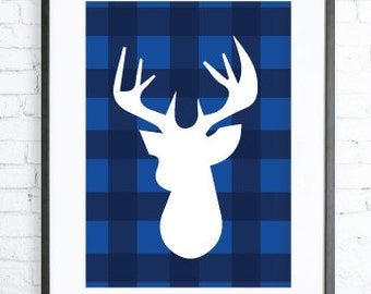 Instant Download Printable, Deer Head Print, Blue Wall Art, Deer Art Print, Dear Wall Art, Blue Home Decor, Deer Wall Art, office artwork