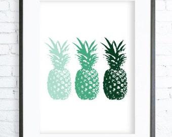 Green Pineapple Print - Pineapple Art - Print Art - Modern Art Print - Digital Art - Instant Download Printable