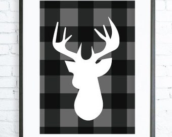 Deer Printable, Christmas Decoration, Christmas Decor, Black and White, Dear Head, Christmas Deer, Wall Decor, Christmas Deer Art Print