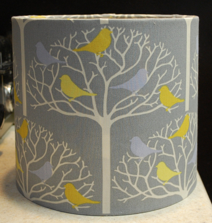 custom gray white yellow bird tree lamp shade lampshade. Black Bedroom Furniture Sets. Home Design Ideas