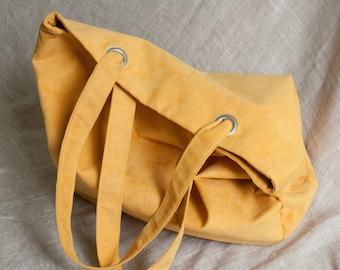 Everyday tote bag / oversized bag / casual bag / shoulder bag / faux suede bag / yellow color