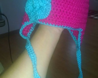 Pink earflap hat with turquoise rose 9-12 months