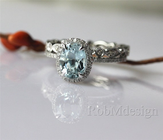 Bridal Wedding Set With 68mm Oval Aquamarine By RobMdesign On Etsy