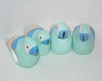 Set of 4 Wooden Bird Napkin Rings - R.O.C. - Parrot Napkin Rings - Napkin Holders